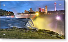 Silky Niagara Falls Panoramic Sunset Acrylic Print by Adam Jewell