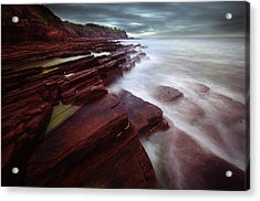 Silky Wave And Ancient Rock 3 Acrylic Print