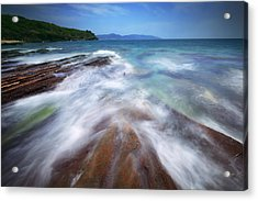 Acrylic Print featuring the photograph Silky Wave And Ancient Rock 5 by Afrison Ma
