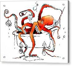 Silly Octopus Taking A Bath Acrylic Print
