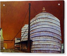 Silos With Sienna Sky Acrylic Print by Susan Williams