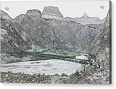 Silver And Black Bridges Over Colorado River Bottom Grand Canyon National Park Colored Pencil Acrylic Print by Shawn O'Brien