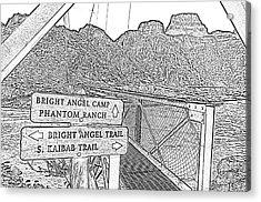 Silver Bridge Signs Over Colorado River At Bottom Of Grand Canyon National Park Bw Line Art Acrylic Print