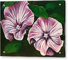 Silver Cup - Lavatera Acrylic Print by Lyndsey Hatchwell