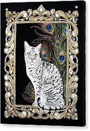 Acrylic Print featuring the painting Silver Egyptian Mau by Leena Pekkalainen