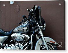Silver Harley Motorcycle Acrylic Print by Imran Ahmed