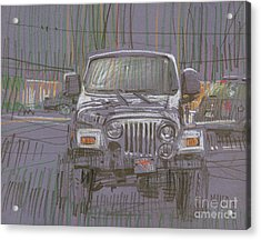 Silver Jeep Acrylic Print by Donald Maier