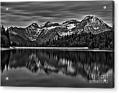 Silver Lake Reflection Black And White Acrylic Print