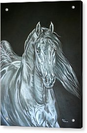 Acrylic Print featuring the painting Silver by Leena Pekkalainen