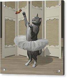 Silver Mau Ballet Cat On Paw-te Acrylic Print by Andre Price