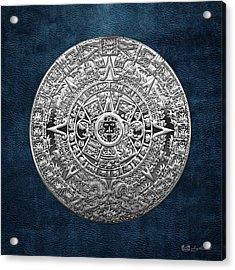 Silver Mayan-aztec Calendar On Blue Acrylic Print by Serge Averbukh