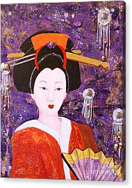 Silver Moon Geisha Acrylic Print by Jane Chesnut