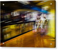 Acrylic Print featuring the photograph Silver People In A Golden World by Alex Lapidus