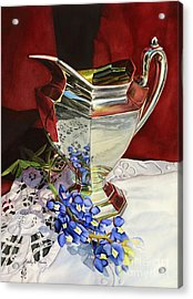 Silver Pitcher And Bluebonnet Acrylic Print