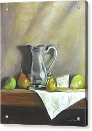 Silver Pitcher With Pears Acrylic Print by Jack Skinner