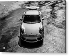 Acrylic Print featuring the digital art Silver Porsche 911 Gt3 by Douglas Pittman