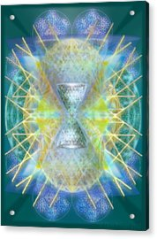 Silver Torquoise Bright Chali-cell-ring Flower Of Life Matrix Acrylic Print