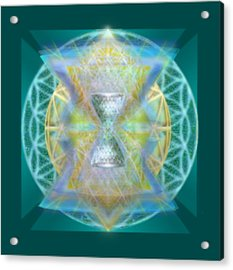 Silver Torquoise Chalice Matrix II Subtly Lavender Lit On Gold N Blue N Green With Teal Acrylic Print