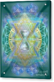 Silver Torquoise Chalicell Ring Flower Of Life Matrix Acrylic Print by Christopher Pringer