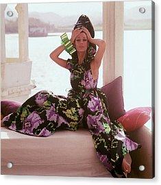 Simone D'aillencourt Wearing Seraglio Pajamas Acrylic Print
