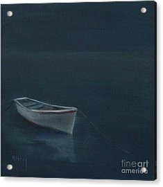 Simple Serenity - Lone Boat Acrylic Print by Mary Hubley
