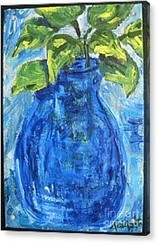 Acrylic Print featuring the painting Simple Greens by Reina Resto