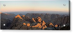 Acrylic Print featuring the pyrography Sinai Mountains Just After Sunrise by Julis Simo