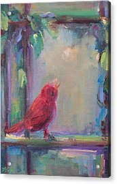 Acrylic Print featuring the painting Sing Little Bird by Mary Wolf