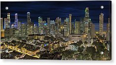 Singapore Central Business District Skyline And Chinatown At Dus Acrylic Print by David Gn