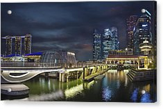 Singapore City By The Fullerton Pavilion At Night Acrylic Print by David Gn