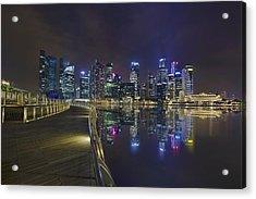 Singapore City Skyline Along Marina Bay Boardwalk At Night Acrylic Print by David Gn