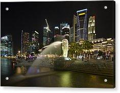 Singapore City Skyline At Merlion Park Acrylic Print by David Gn