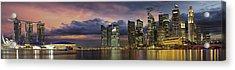 Singapore City Skyline At Sunset Panorama Acrylic Print