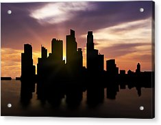 Singapore City Sunset Skyline  Acrylic Print by Aged Pixel