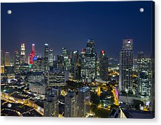 Singapore Cityscape At Blue Hour Acrylic Print by David Gn
