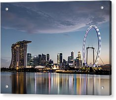 Singapore Skyline At Dusk Acrylic Print by Martin Puddy