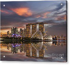 Singapore Skyline Beautiful Sunset Acrylic Print