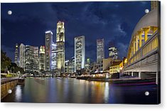 Singapore Skyline From Boat Quay Acrylic Print