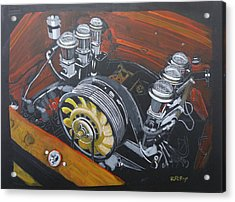 Acrylic Print featuring the painting Singer Porsche Engine by Richard Le Page