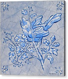 Singing Bird Delft Blue Acrylic Print by Raymond Van den Berg