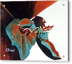 Singing Frog Duet 2 Acrylic Print by Kathy Braud