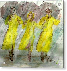 Singing In The Rain Acrylic Print by P J Lewis