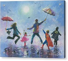 Singing In The Rain Super Hero Kids Acrylic Print by Vickie Wade