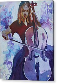 Singing The Cello Acrylic Print by Jenny Armitage