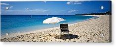 Single Beach Chair And Umbrella On Acrylic Print
