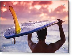Single Fin Surfer Acrylic Print by Sean Davey
