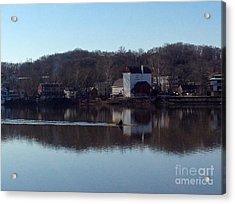 Single Scull On The Delaware Acrylic Print