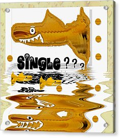 Single Shark Pop Art Acrylic Print by Pepita Selles