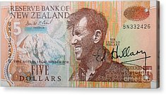 Sir Edmund Hillary Signed Banknote Acrylic Print