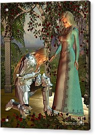 Sir Launcelot And Queen Guinevere Acrylic Print by Fairy Fantasies